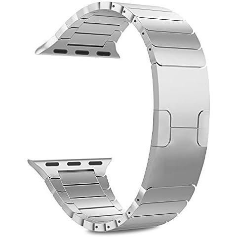 MoKo Apple Watch SERIES 1 / 2 Correa - Reemplazo SmartWatch Band de Reloj de Acero Inoxidable Bracelete con Hebilla Plegable de Doble Botnnes Pulsera para Apple Watch 42mm, Plata (NO ADPTA PARA 38mm)