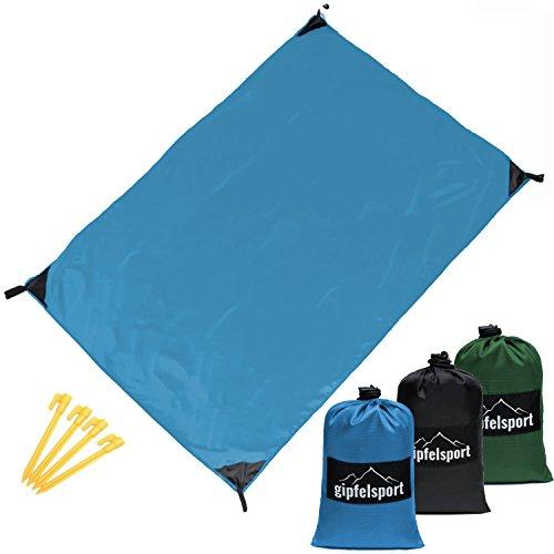 gipfelsport Picknickdecke - Outdoor Picknick Decke I Stranddecke, wasserdicht, abwaschbar, sandfrei I 200x140 cm I blau
