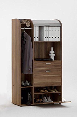 Rolladenschrank mit Jalousie Aktenschrank Garderobe Büro Nussbaum