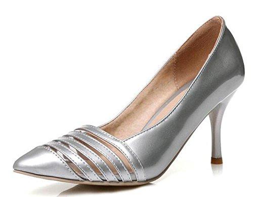 PBXP Pumpen Büros Hollow Scarpin Stiletto Mid Heel Spitz-Toe Frauen Casual Hochzeit Elegante Schuhe Europa Größe innerhalb Biger Größe 30-45 Silver