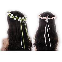 TOOGOO(R)2x Copricapo fascia artificiale del fiore della Rosa Ghirlanda sposa nozze