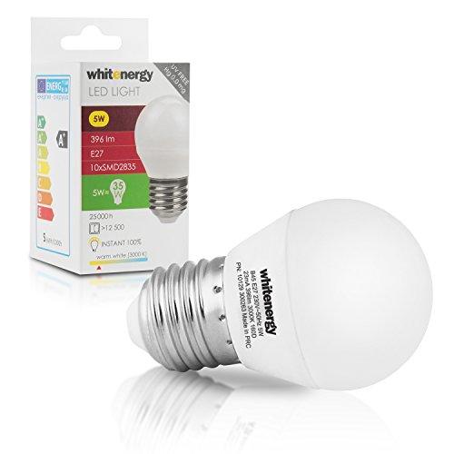 WHITENERGY E27 / B45 5 W Led Lampe, 396 lm, vergleiche 35 - 40 W Glühlampe, 3000 K, Neuste Generation LED, Typ 10x SMD 2835 Leuchtmittel 160 Grad, Abstrahlwinkel, 230 V, warmweiß 10129