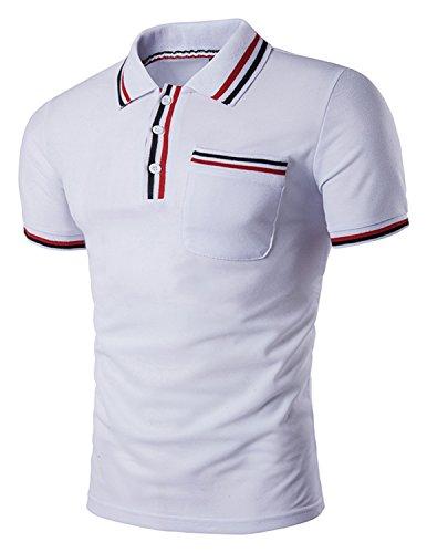 LIANIHK Casual Polo Herren Kontrastfarben Kurzarm Freizeit Poloshirt M - XXL Weiß