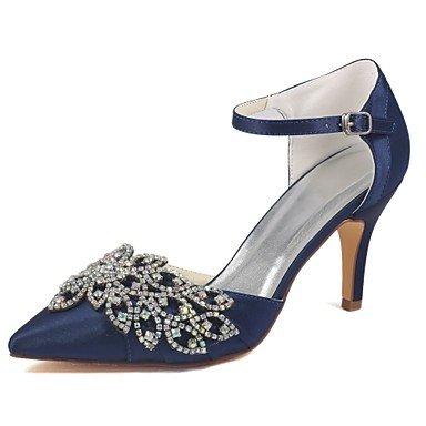 Wuyulunbi@ Scarpe donna raso elasticizzato Primavera Estate della pompa base scarpe matrimonio Stiletto Heel Punta Cristallo per Party & abito da sera blu scuro Blu scuro