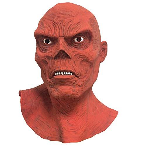 Kostüm Der Skull Red - QWEASZER Captain America Red Schädel Maske Latex Full Head Helm Schädel Cosplay Kostüm Zubehör für Halloween Film Kleidung Kostüm Replik für Erwachsene,Red Skull-OneSize