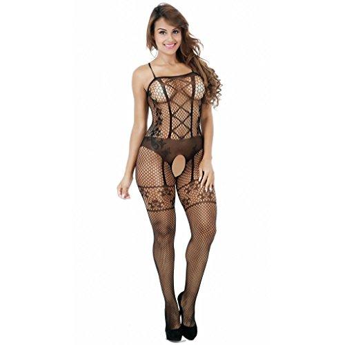 Ailin home- Europa und die Vereinigten Staaten sexy Unterwäsche sexy Gurtzeug Jacquard offenen Schritt Stück Netz Kleidung Schwarz