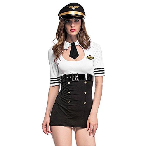 D_HOME Schwarz und weiß weibliche Pilot Astronaut Cosplay Anzug Stewardess Kostüm Rolle Spielen Anzug (Weiblich Pilot Kostüm)