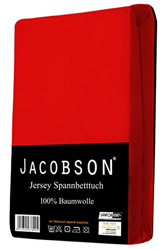 Jacobson Jersey Spannbettlaken Spannbetttuch Baumwolle Bettlaken (90x200-100x200 cm, Rot) - 2