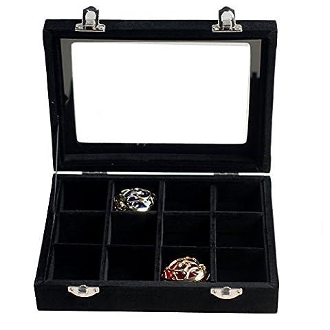 novadeal 12/24/30Raster pu Velours Leder Schmuck Display Box Ringe Ohrringe