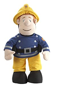 """Fireman Sam 12"""" huggable plush can be taken on any firefighting adventure.  Press Sams hand, and this soft cuddly toy will say phrases from the show."""