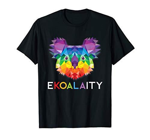 EKOALAITY CUTE KOALA Rainbow Flag Gay Pride Month Gift T-Shirt -