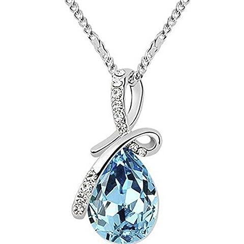MESE London Tear Drop Necklace Silver Womens Chain Blue Crystal Pendant - Elegant Gift Box