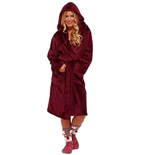 MCYs Peignoir S - 5XL Court Femme à Capuchon Robe de Chambre Micro-Fibre Douillette Moelleuse Polaire Robby