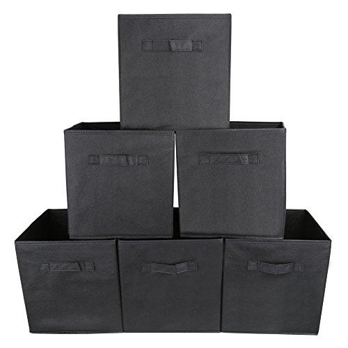 EZOWare Boîtes de Rangement Ouvertes en Textile Non-Tissé, Tiroir en Tissu, Pack de 6, pour Linge, Jouets, Vêtement, Disques DVD etc. - Noir