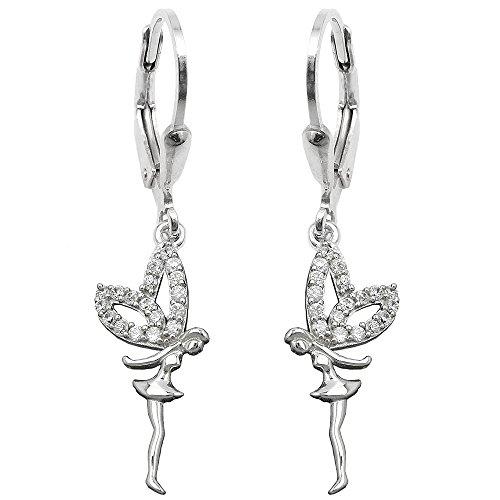 Ohrbrisur Ohrhänger Ohrringe 35x8mm Elfe mit Zirkonias rhodiniert glänzend Silber 925