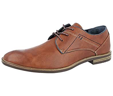 FosterFootwear Mens Black Faux Real Leather Lace up Smart Work Office School Shoes Oxford Brogue Loafer Size 7-11 (UK 6/EU 40, Brown)