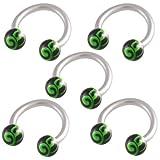 16g 16 gauge 1.2mm 5/16 8mm steel circular barbell horseshoe bar ring lip ear tragus studs eyebrow FBVV Body Pierced Jewellery 5Pcs