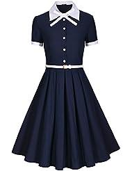 Miusol® Damen Schulmaedchen Revers mit Schleife Marine Stil Rockabilly Cocktailkleid Business 80er Jahr Kleid