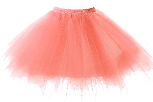 Poplarboy Damen Kurz 50er Vintage Petticoat Mehrfarbengroß Unterröcke Braut Crinoline Ballett Tutu Ball Underskirt (Jahre Mädchen 50er Outfits)