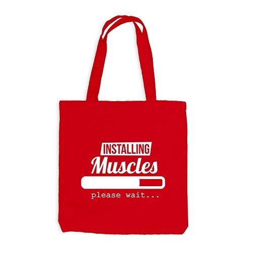Jutebeutel - Installazione Dei Muscoli In Caricamento Attendere Prego ... - Sport Gym Train Rot
