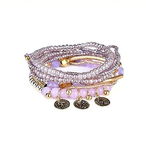 Lureme bohémien Tube Beads Coin Charms Multi Strand Textured Stackable Bracelet Set-Lt Violet (bl003061-3)