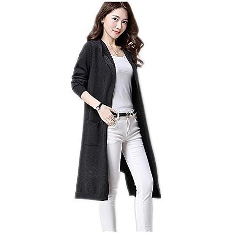 Las mujeres en la capa larga era delgada de manga larga a prueba de viento chaqueta de punto ocasional , b