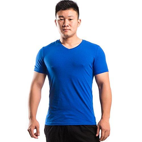 Tagless Muskel-t-shirts (Musclealive Herren T Shirt Slim Fit V-Ausschnitt Kurzarm Sportlich Muskel Tops Weich Baumwolle)