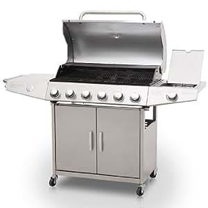 broil-master - Barbecue Grill à Gaz en Acier Inoxydable 6 + 1 Brûleurs 4 Roulettes et Thermomètre