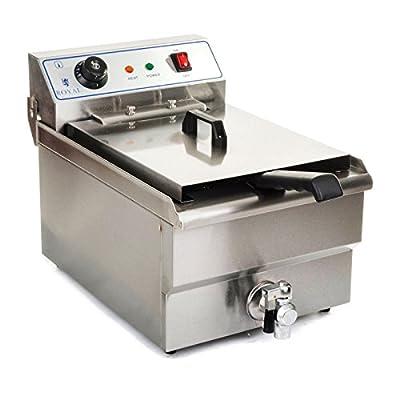 Royal Catering Friteuse électrique RCEF-10EH (10 L, 3200 W, 230 V, Thermostat 60–200 °C, Cuve amovible, Acier Inox, panier, couvercle)