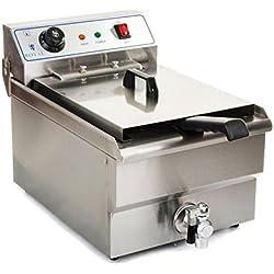 Royal Catering Friteuse électrique RCEF-10EH (10 L, 3200 W, 230 V, Thermostat 60-200 °C, Cuve amovible, Acier Inox, panier, couvercle)