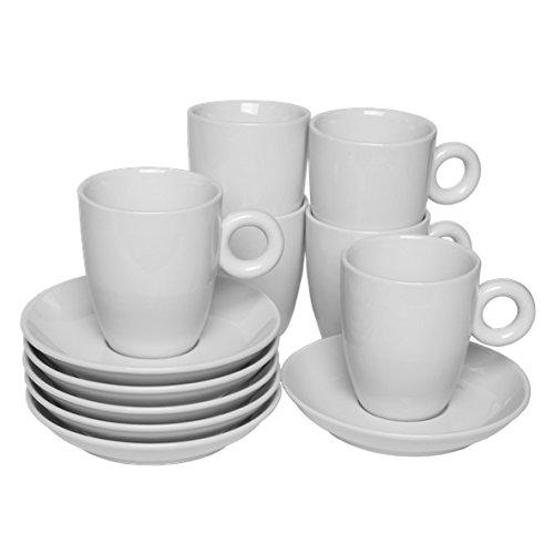 Holst Porzellan RO 232 FA1 Vorteilspack 6er Set Kaffeetasse Rondo, weiß, 14.5 x 14.5 x 10 cm