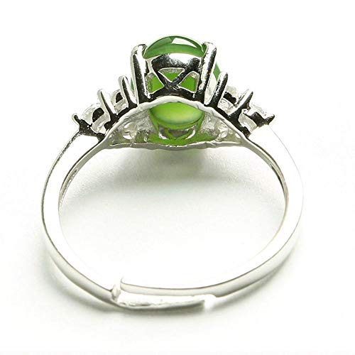 Zhiming Spinach Green jasper Ring 925 silver mosaic and Tianyu ring retractable rings