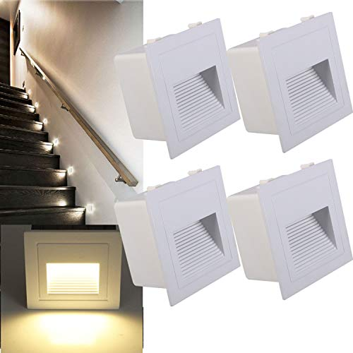 Arote 4er Set 3W LED Wandeinbauleuchte Wandleuchte Treppenlicht Stufenlicht Beleuchtung Lampe Alu 230V warmweiß IP65 wasserdicht