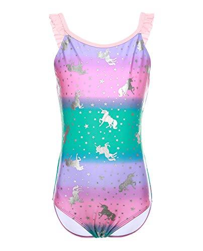iDrawl Einhorn Badeanzug One Piece Bademode Mädchen Sommer Beachwear UPF 50+,115-130 - Mädchen One Piece Bademode