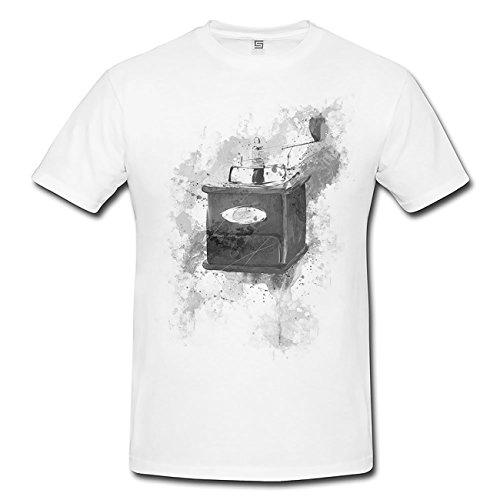 Paul Sinus Art Kaffemuehle Vintage T-Shirt Herren, weiß mit Aufdruck