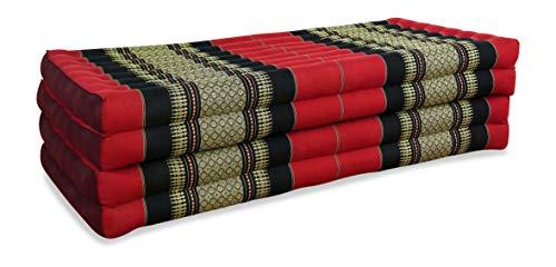livasia Klappmatratze extrabreit (195cm x 110cm) aus Kapok, Faltbare Gästematratze, klappbare Matratze, asiatische Faltmatratze (rot/schwarz)