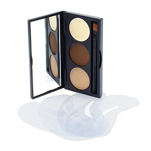 Lover Bar Makeup 3 Colour Eyebrow Kit-Eye Brow Tint Powder Palette-Light Brown Brow for Nose Shaded-Wax Brows for Cream Highlighter-Make Up HD Eye Brows Dye Filler with 4 Eyebrow Shaping Stencils by Lover Bar