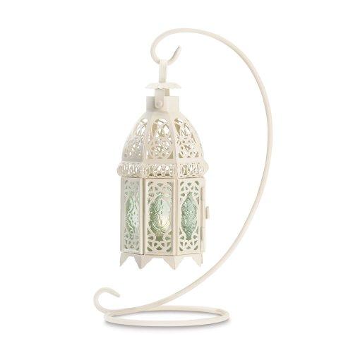 Antike Kerze Laterne (Gifts & Decor Weiß Fancy Antik Gitter Kerze Laterne)