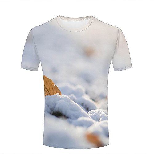 3d Print Short Sleeves T Shirts White Snow and Yellow Maple Leaves Graphics Men Women Couple Fashion Tees S (Short White Ringer Sleeve T-shirt)