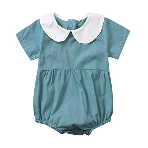 es Baby Mädchen Kurzarm Einfarbig Strampler Puppenkragen Süß Overall Bodysuit Peter Pan Kragen Feste Overall Kleidung Outfits Mode Bequem Babykleidung ()