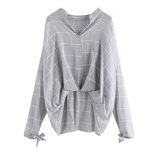Manadlian Frau Gestreift Gitter Bowknot Lange Ärmel Hemd Lose Damen Bluse Beiläufig Tops (Grau, L) - Hooded Zip Vorne Pullover Strickjacke