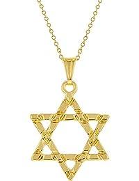 In Season Jewelry - Chapado En Oro 18k Estrella de David Judía Collar Religioso 48cm