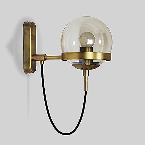 Nordic Modern Minimalist Bronze / Support de fer noir Lampe de table en verre Ball American Living Room Chambre Hôtel Walkway Free Hanging Line Applique décorative E27 ( Couleur : Brass )