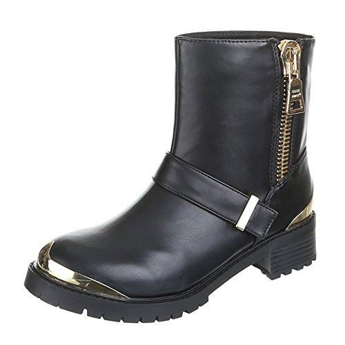 Damen Schuhe, ADRIA, BOOTS Schwarz Gold BARBARA