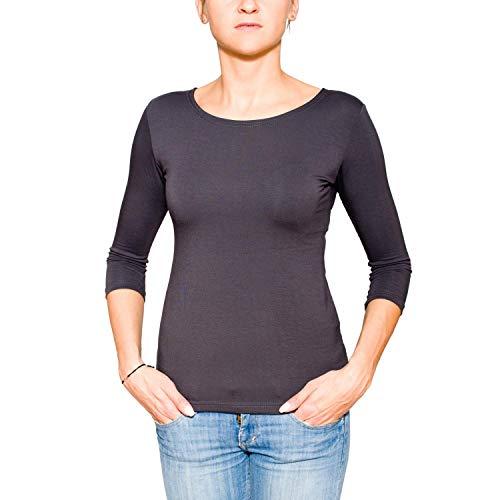 995376c58078 Alkato Damen Shirt 3 4 Arm Rundhalssusschnitt Stretch, Farbe  Graphit,  Größe