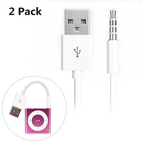 Belker iPod Shuffle Kabel, Belker 2Stück 3,5mm Klinke/Stecker auf USB Power Ladegerät Ladekabel USB Sync Data Transfer Kabel für iPod Shuffle 3. 4. MP3/MP4