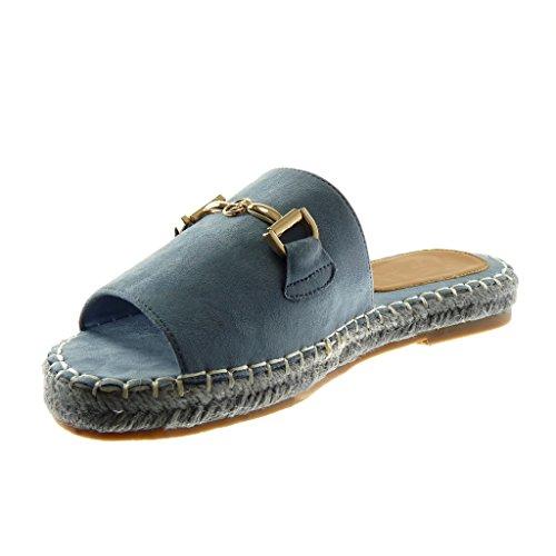 Angkorly Scarpe Moda Sandali Mules Slip-On Donna Gioielli Catena D'Oro Tacco a Blocco 2.5 cm Azzurro