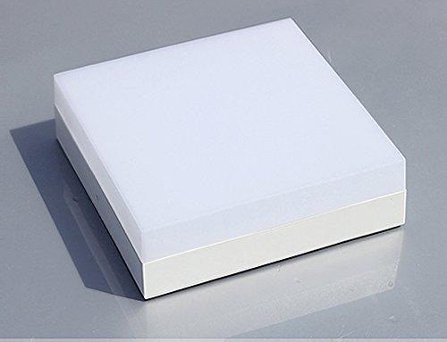 Kleine LED Deckenleuchte Mini Decken Leuchte Ultra thin Moderne Design Wohnzimmer Schlafzimmer Küche Flur Deckenlampe Innen Beleuchtung Aluminiunm und Acryl Lampe Durchmesser 12cm 12W (Warm Licht, Eckig) (Kleine Lampe Schlafzimmer)