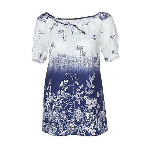 Lucky mall Frauen Kurzarm V-Ausschnitt Bluse, Spitze Bedruckte Tops, Kurzärmliges T-Shirt mit V-Ausschnitt und Bedruckter Spitze