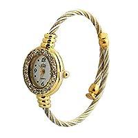 DealMux Women Fashion Jewelry Rhinestone Cuff Bracelet Oval Face Bangle Quartz Wrist Watch